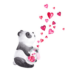FototapetaHand drawn watercolor panda holding glass jar with hearts