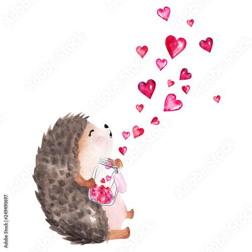 Fotografia, Obraz Hand drawn watercolor hedgehog holding glass jar with hearts
