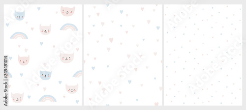 Obraz Lovely Pastel Colors Nursery Vector Patterns. Funny Smiling Cats on a White Background. Hearts and Rainbows Among Kitties. Pink, Blue and Gray Hearts Pattern. Bright Irregular Dotted Layout.  - fototapety do salonu