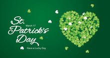 St Patricks Day Calligraphy Clover Irish Green White Heart Ornament Emblem Lucky Greeting Card