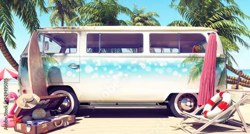 In de dag Kamperen Unpacked van with mock-up space ready for summer holidays 3D Rendering