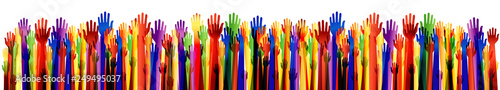 Obraz Large group of happy hands multiple exposure. Arms upwards. Many colored hands up. Vector - fototapety do salonu