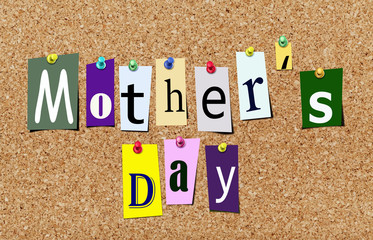 Magazine cutout mother's day on cork noticeboard