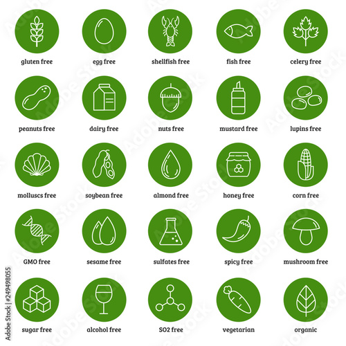 Food allergens icons vector set. On white background. Canvas Print