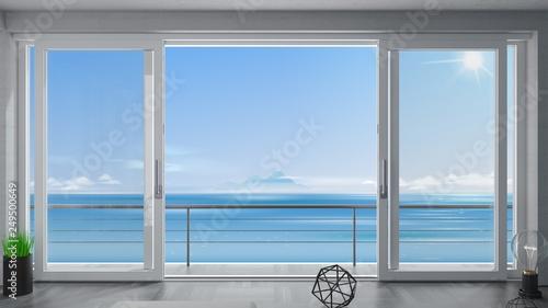Fototapeta drzwi   sliding-window-villa-with-sea-view