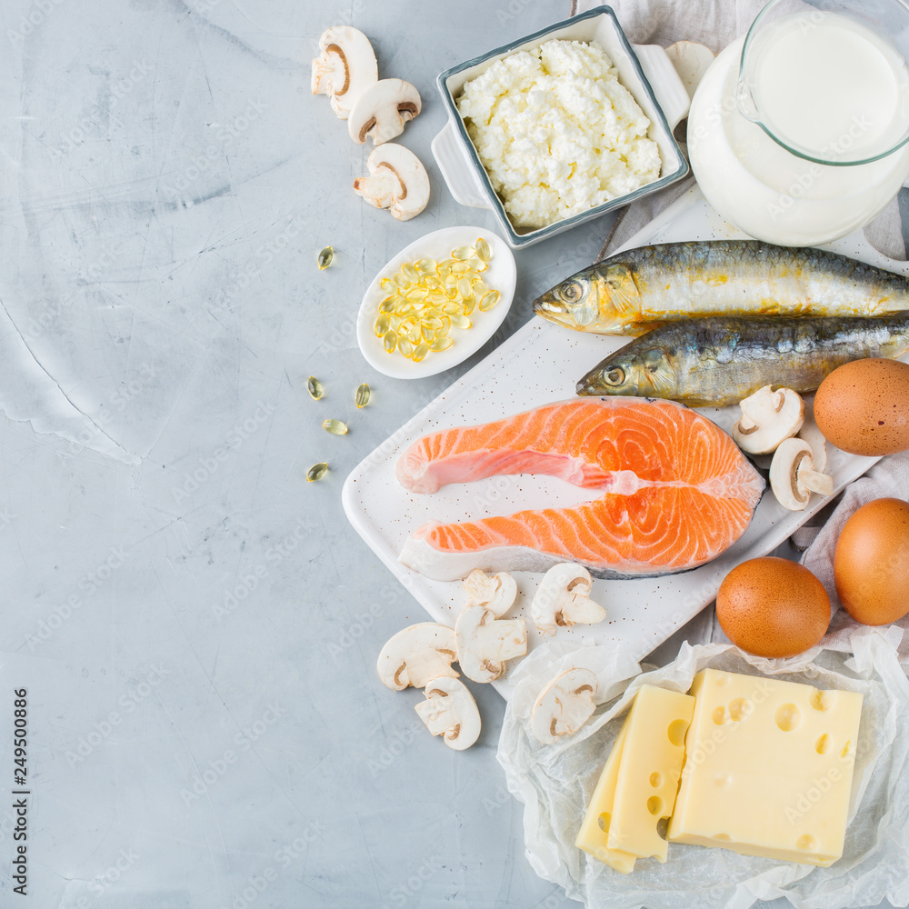 Fototapeta Assortment of healthy vitamin d source food