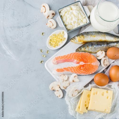 Assortment of healthy vitamin d source food Obraz na płótnie