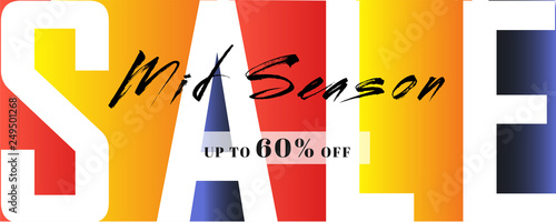 Photo  Creative colorful header or banner design for Mid Day Season sale with 60% discount offer