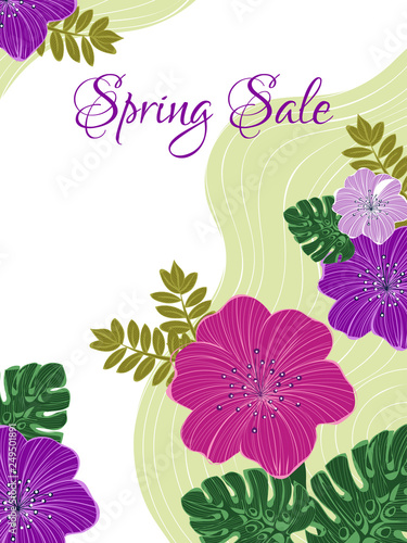 Spring sale template design decorated with colorful flowers and tropical leaves Wallpaper Mural
