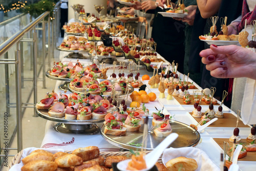 Buffet reception finger food appetizers Fototapeta