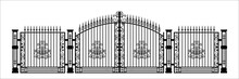 Black Silhouette Of Gothic Cemetery Gate With Ornament. Isolated Drawing Of Cathedral Build. Fantasy Architecture. European Medieval Landmark. Design Element