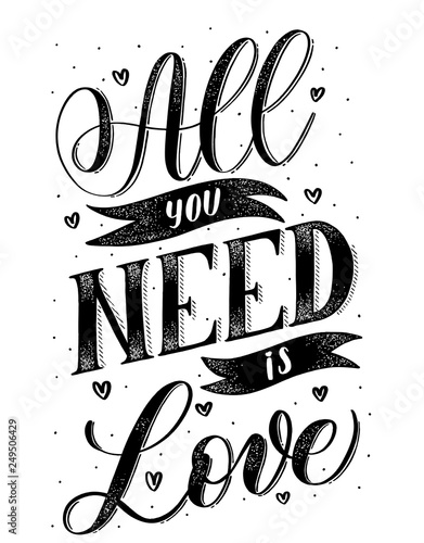 Photo  All you need is love- black hand lettering card