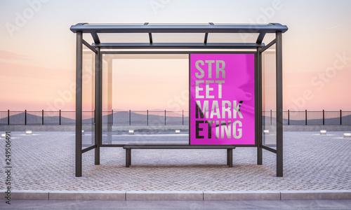 Obraz bus stop advertising - fototapety do salonu