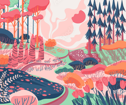 Spring landscape with hills, trees, plants, bushes, pathway and tulips flowers Wallpaper Mural