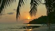 Beautiful tropical beach and sea landscape at sunset time