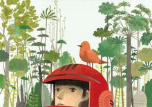 Illustration Of Bird Perching On Man's Helmet