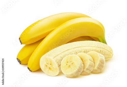 Leinwand Poster Bunch of bananas isolated on white background