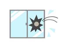 割れる窓ガラス