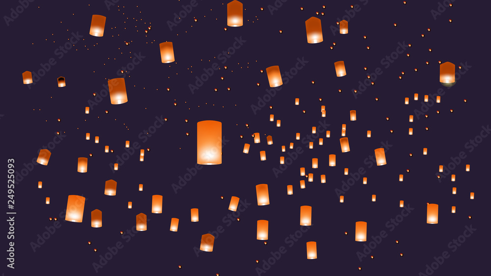Fototapety, obrazy: Vector illustration of chinese lanterns in the blue sky