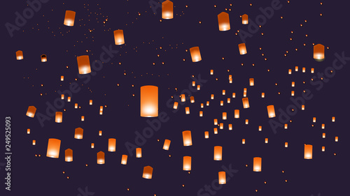 Photographie  Vector illustration of chinese lanterns in the blue sky
