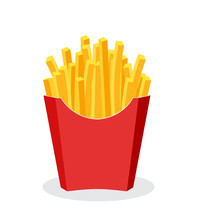 French Fries Potato Fast Food In Red Carton Package Box Isolated On White Background