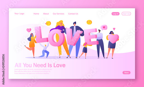 Fototapeta Concept of landing page on love story theme. Romantic vector illustration on love story theme. Happy flat people character holding large letters LOVE. Lifestyle concept on Valentine Day theme. obraz na płótnie
