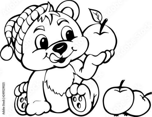 Fototapeta Miś z jabłkiem obraz