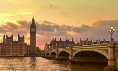 London Westminster Bridge view at sunset