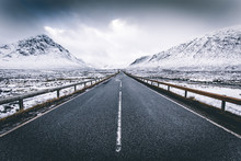 Open Road Winter Snow Mountain...