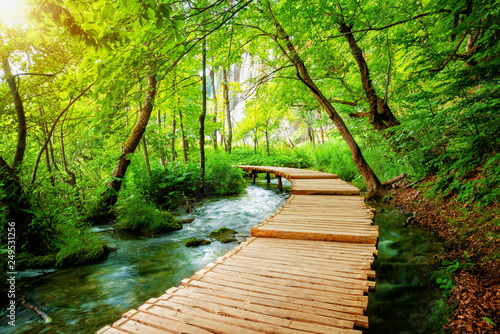 Crédence de cuisine en verre imprimé Route dans la forêt Beautiful wooden path trail for nature trekking with lakes and waterfall landscape in Plitvice Lakes National Park, UNESCO natural world heritage and famous travel destination of Croatia.