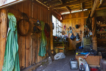 Workshop Shed Garage With Toold For Repare And Atv Inside