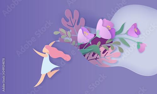 Fotografía  Happy Women Day holiday card Paper cut style