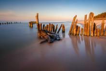 Stakes On The Baltic Sea At Sunset Time, Karwia Village, Poland