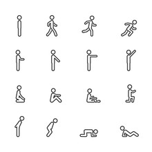 Vector Set Of Man Standing Walking Running Sitting Lying Pointing In Different Poses Line Icons.