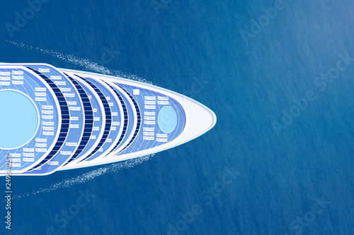 Fotografía  Nose of cruise ship top view on blue sea illustration