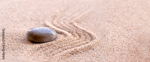 Fotobehang Stenen in het Zand Zen stone and sand, panoramic zen still life