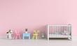 Pink children room interior for mockup, 3D rendering