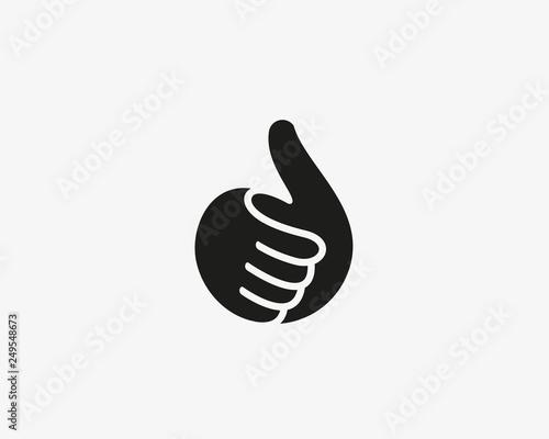 Hand, thumbs up vector logo. Like, fingers logotype. Wallpaper Mural