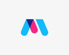 Letter M, W Logotype. Colorful...