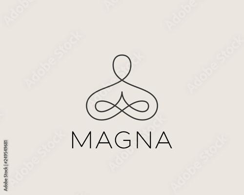 Fotografia Abstract yoga human linear logo