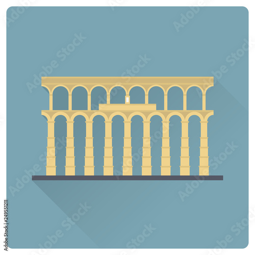 Aqueduct of Segovia, Spain, vector icon Wallpaper Mural