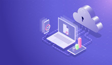 Isometric Cloud Data Storage Center And Cloud Computing Concept, Data Transfer Upload-download Process By Laptop, Smartphone And Tablet, Database Hosting Server  Vector
