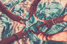 Close Up With Above Top View Of Group Of Women Hands Together Doing The V Like Victory Sign - Team Crew Work And Friendship Concept - Blue Mandala Textile Background On The Fllor