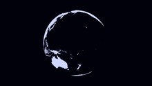 Abstract Monochrome Earth Planet Rotating, Seamless Loop. Digital Terrestrial Globe Spinning, Black And White.