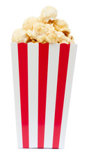 Isolated Popcorn In Square Striped Bucket On White Background
