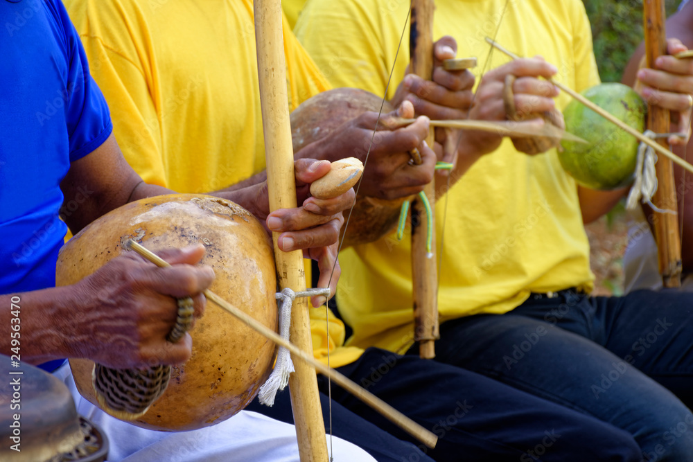 Fototapety, obrazy: Brazilian musical instrument called berimbau and usually used during capoeira brought from africa and modified by the slaves