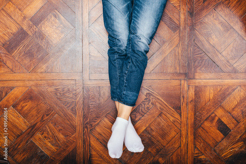 Obraz View from above woman's legs - fototapety do salonu