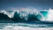 canvas print picture - Waves breaking on the coast of Lanzarote, La Santa.