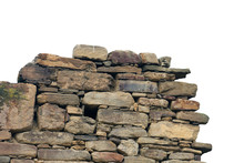 Old Ancient Ruined Stonework Wall Of Bricks And Stone Blocks Foreground Closeup Isolated On White Background