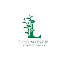Green Bamboo L Letter Logo